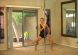 getting ready for a pole dancing workout at home on a dance pole