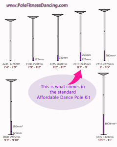 affordable no brand dance pole extension chart