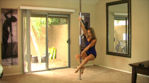 pole in a home during a pole spin