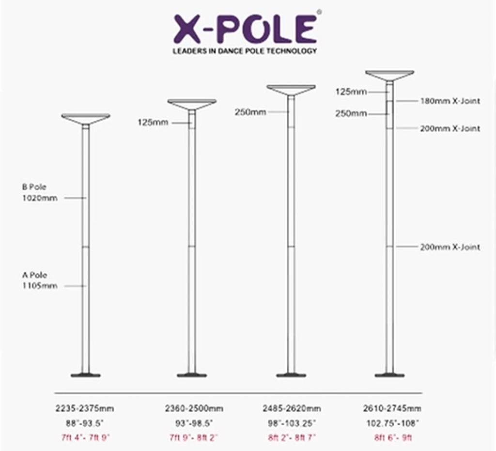 ceiling height and extension chart for X Pole