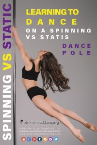 A girl spinning on a spin pole