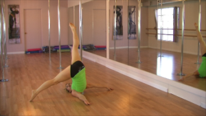 second part of pole dancing routine lesson shoulder rolls