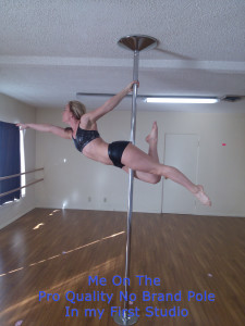Portable pole dancing pole kit on popcorn ceiling