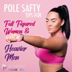 A full figure lady exercising and getting ready for pole fitness dancing