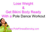 woman struggling to lose weight on a pole dancing workout at home