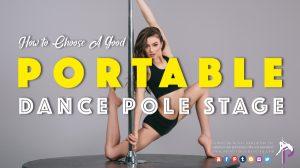 A female pole dancer wearing pole wears posing on a portable dance pole stage base