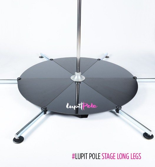 Lupit free standing dance pole stage base with long legs