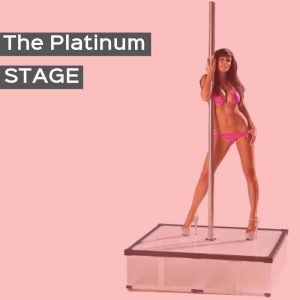 Platinum-Stage_free standing dance pole with square stage base