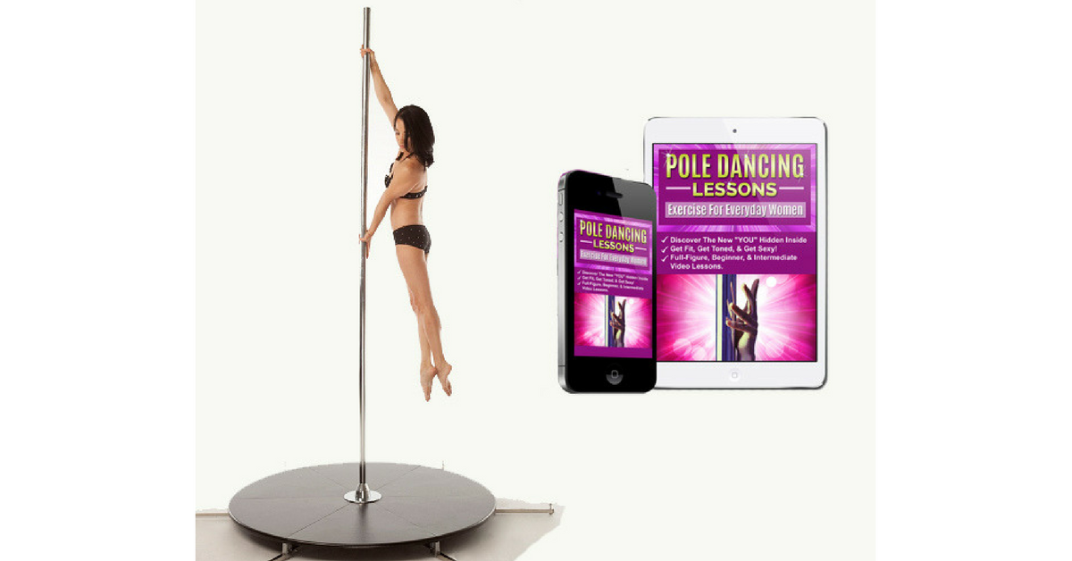 Girl pole dancing on an Xpole Xstage Lite
