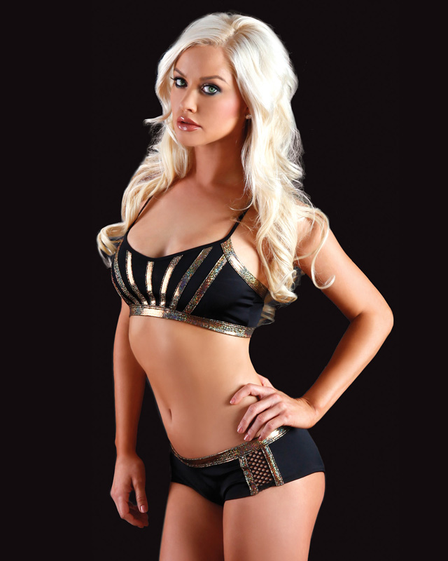 Black and Gold angel bra top and short set for pole dancing fitness