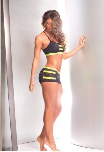 Archer black and yellow pole dancing fitness clothing set by bodyzone
