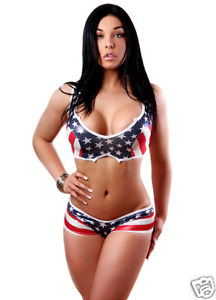 bodyzone american flag stripe top and bottom pole dancing clothing set