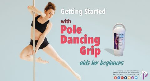 A girl practising pole fitness while hanging from a pole using hand grip gel