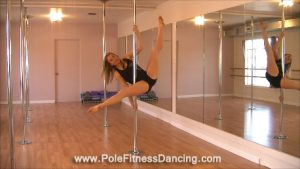 gripping the pole in beginner windmill pole dance move