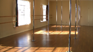dance poles on various ceiling heights in home