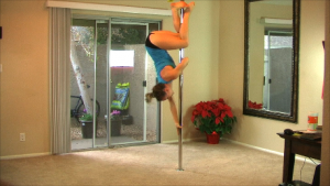 girl on home dance pole for variable ceiling height