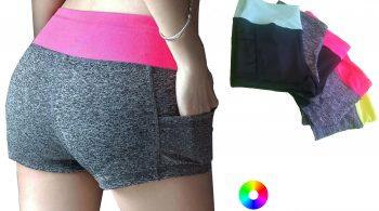 high mid waist yoga pole dance fitness booty shorts with pocket