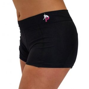 PFD Solid Black Booty Shorts For Pole Dancing Fitness