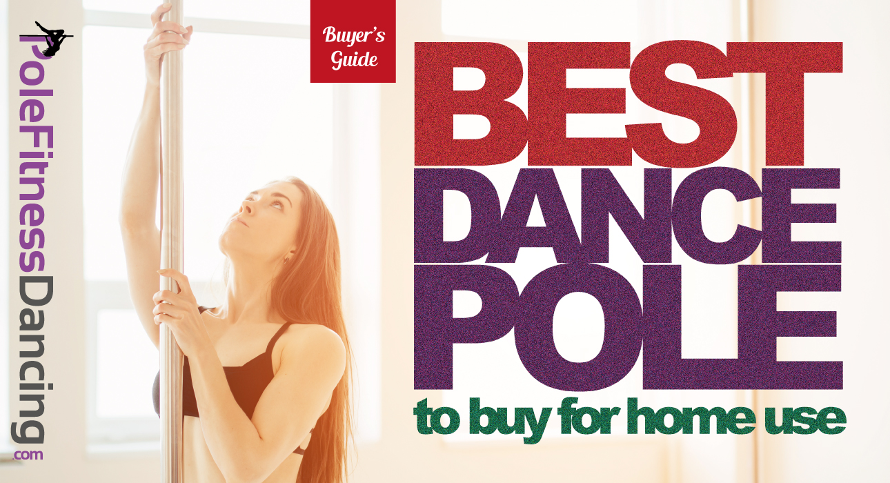 A pole dancer standing near a dancing pole in her home reading a buyers guide