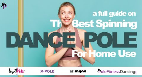 A girl reading our Full Guide On The Best Spinning Dance Poles For Home Use before buying a dance pole
