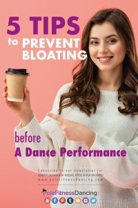 A girl pointing at a coffee cup talking about 5 Tips to Prevent Bloating Before a Dance Performance
