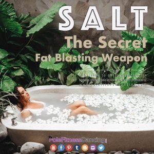 A lady in a bathtub having salt as her secret fat blasting solution
