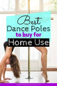 A woman exercising with a dance pole at home.