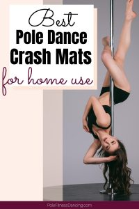 A woman hanging upside down on a dance pole.