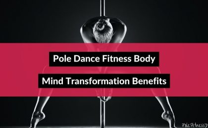 A black and white artistic pose of a woman in front of a pole used as an example for pole dance fitness body mind transformation benefits.