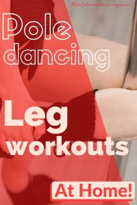 A woman with her leg wrapped around a dance pole working out.