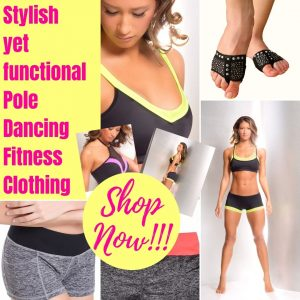 A woman in different pole dancing fitness clothing and training aids.