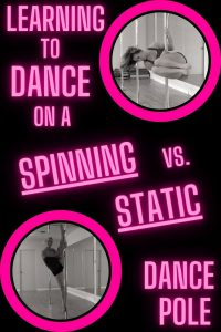 A woman pole dancing for fitness on two different types of dance poles. ( A static dance pole and a spinning dance pole)