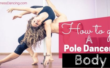 body of a pole dancer. One male pole dancer with a female pole dancer together pole dancing.