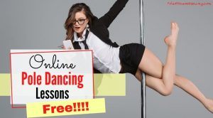 A woman practicing pole dancing while looking at the free lessons on her phone.
