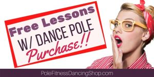 A woman ecstatic over getting free pole dancing lessons with her dance pole purchase