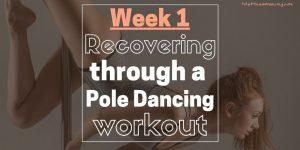 A woman doing a pole dancing workout to gwen stefani make me love you.