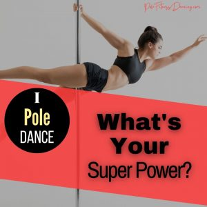 A woman doing the superman pose on a dance pole