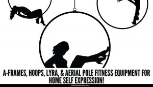 Woman using aerial equipment for home fitness