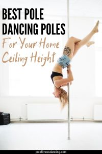 A woman practicing on a dance pole in her home.