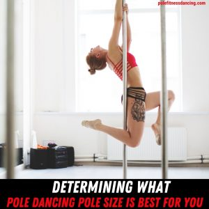 A woman on a dance pole that is the right size for her