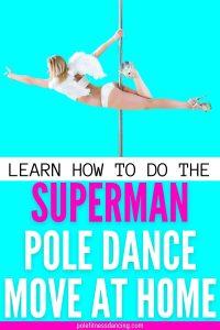 A woman doing the superman pole dance move