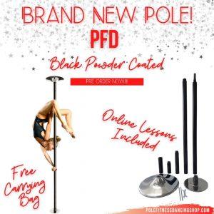 A woman pole dancing on a PFD black powder coated dance pole