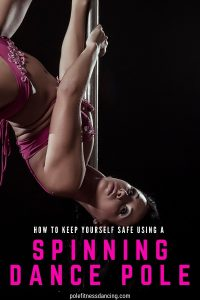 A woman using a spinning dance pole for pole fitness dancing