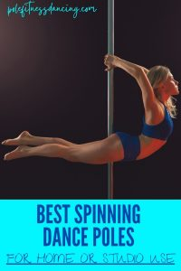A woman dancing on a spinning dance pole in her home