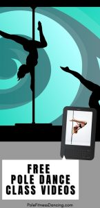 A woman watching video lessons and pole dancing for fitness