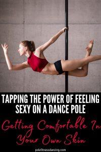 A woman feeling sexy on a dance pole