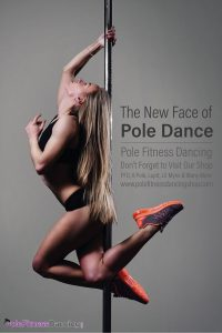 athletic woman dancing on a dance pole with sports shoes