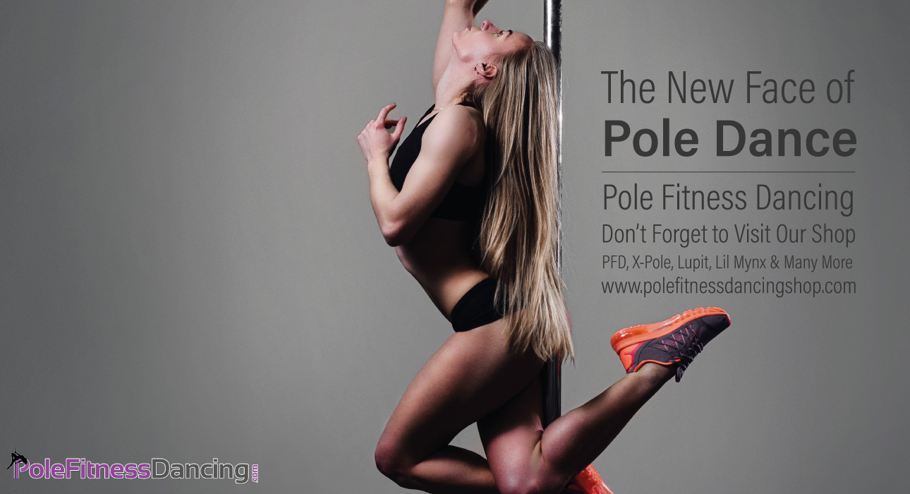 athletic pole dancer on a dance pole with sport shoes