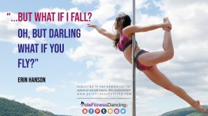 A girl posing and aerial move on the pole set up by the beach