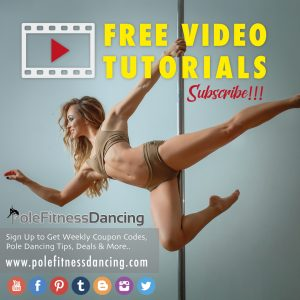 A pole dancer is posing on the pole during the free video tutorial